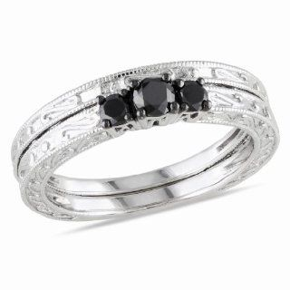 10k White Gold Black Diamond Bridal Set Ring (0.3 Cttw) Jewelry