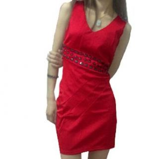 Women V Neck Concealed Zipper Sexy Sleeveless Cocktail Dress Red S
