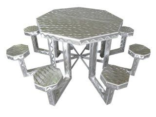 OFAB Custom Theme Tables 347A0001 48 Inch Octagon Aluminum Picnic Table, Silver. *** Lifetime Warranty *** (Discontinued by Manufacturer) Patio, Lawn & Garden