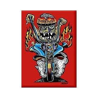 Artist Von Franco Brain Bucker Monster Biker Motorcycle Fridge Magnet Kitchen & Dining