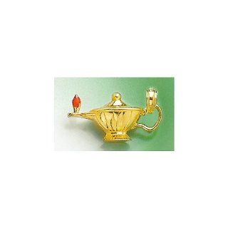 3d Gold Charm Genie Lamp With Red Enamel Flame Highly Polished Million Charms Jewelry