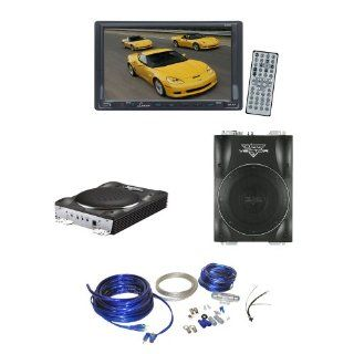 Lanzar Car, Van, Truck DVD Player and Amplified Subwoofer Package   SDN70U 7'' Double Din TFT Touch Screen DVD/VCD/CD//MP4/CD R/USB/SD MMC Card Slot /AM/FM   VCTBS10 800 Watts Max 10'' Super Slim Active Subwoofer   AMPKIT4 Contaq 1800 Wa