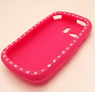 Samsung R355c Hot Pink Pretty Bling Dazzle Diamonds Protector Soft Silicone Design Case Cover Skin NET 10 Straight Talk Cell Phones & Accessories