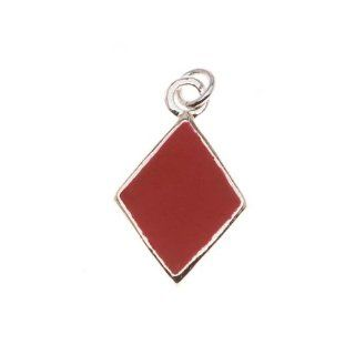 Silver Plated With Enamel Red 'Diamonds' Playing Card Suit Charm (1)