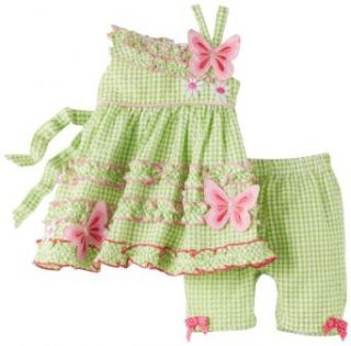 Bonnie Baby Girls Newborn Butterfly Legging Set (24 Months, Green) Clothing