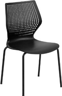 FlashFurniture RUT 358 BK GG Hercules Series 770 Pound Capacity Designer Black Stack Chair with Black Frame   Plastic Chairs