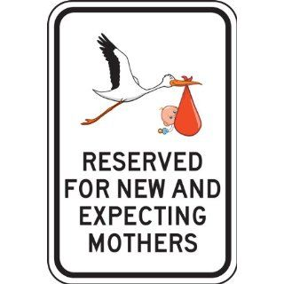 "Accuform Signs FRP358RA Engineer Grade Reflective Aluminum Designated Parking Sign, Legend ""RESERVED FOR NEW AND EXPECTING MOTHERS"" with Stork and Baby Graphic, 12"" Width x 18"" Length x 0.080"" Thickness, Black on White Industrial"