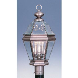 Livex Lighting 2633 3 Light 180W Post Light with Candelabra Bulb Base and Clear Beveled Glass from B, Vintage Pewter