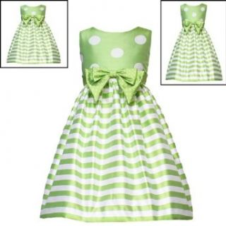 Rare Editions Girls 2T 6X LIME GREEN WHITE DOTS STRIPES Special Occasion Wedding Flower Girl Easter Birthday Party Dress   4T4 Clothing