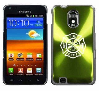 Green Samsung Galaxy S II Epic 4g Touch Aluminum Plated Hard Back Case Cover H695 Fire Department Maltese Cross Cell Phones & Accessories