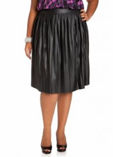Ashley Stewart Women's Plus Size Faux Leather Pleated Skirt Black 12 Clothing