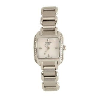 Tissot Women's T02.1.365.71 T Wave Mother Of Pearl Dial Leather Strap Diamond Bezel Watch Watches