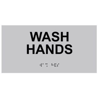 ADA Wash Hands With Symbol Braille Sign RSME 366 BLKonSLVR Wash Hands  Business And Store Signs