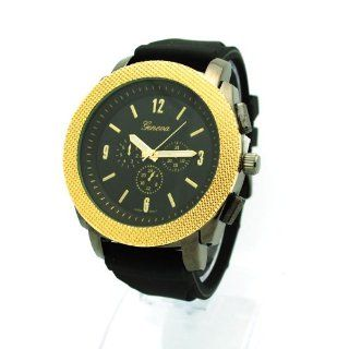 Geneva Mens Luxury Faux Chronograph Analog Quartz Wrist Watch Black Gold Watches