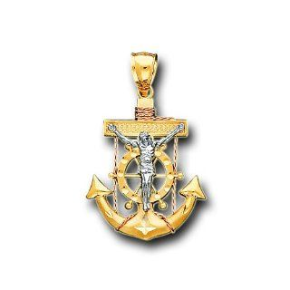 14K Yellow Two Tone Gold Jesus Anchor Charm Pendant IceNGold Jewelry