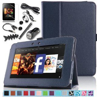 Pandamimi ULAK(TM) Slim Folio Magnetic PU Leather Case Cover with Smart Cover Auto Wake / Sleep Feature for  All New Kindle Fire HD 7 inch (2nd Generation 2013 Model, will not fit HDX models or previous generation) with 6in1 Accessories   Headphone, USB Ca