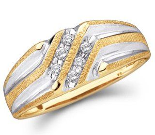 Mens Diamond Wedding Band Engagement Ring 10k Yellow Gold (0.14 Carat) Jewel Tie Jewelry