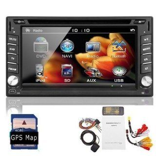 Ouku 2014 Newest Model 6.2 Inch Double 2 DIN In Dash Touch screen LCD Monitor with DVD/CD//MP4/USB/SD/AMFM/RDS/Bluetooth and GPS Navigation SAT NAV Head Deck Tape Recorder Subwoofer HD800*480 LCD Free GPS Antenna+Free Official Kudo GPS Map GPS & N