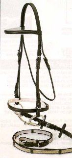 SILVER FOX Padded Snaffle Bridle with SUPER GRIP REIN, Black, Horse Sports & Outdoors