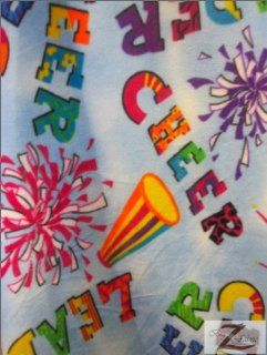 "CHEERLEADER PRINT POLAR FLEECE FABRIC   Cheer Sky Blue   60"" SOLD BY THE YARD (382)"