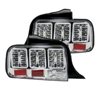 RECON 2005 2009 Ford Mustang Clear Lens LED Rear Brake Turn Tail Lights; No Bulbs Automotive