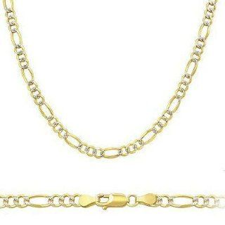 "Solid 14k Two Tone Gold Figaro Pave Chain Necklace 2.5mm 16"" Jewelry"