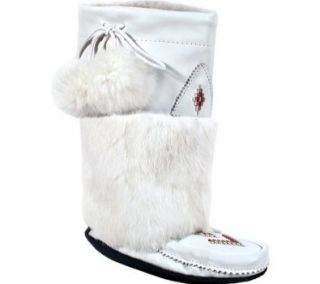 Manitobah Mukluks Nappa Mid Crepe Sole Mukluk Winter Boots,White Cowhide Nappa/Rabbit Fur,4 M US Shoes