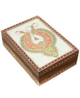 Gold Leaf Marble Painting Wood Jewelry Box from India Jewelry
