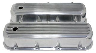 1965 95 Chevy Big Block 396 427 454 502 Tall Polished Aluminum Valve Covers   Finned Automotive