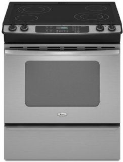 "Whirlpool GY397LXUS Gold 30"" Stainless Steel Electric Slide In Smoothtop Range Appliances"
