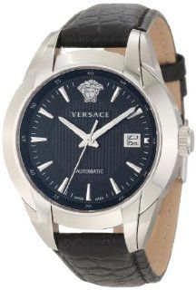 Versace Men's 25A399D008 S009 Character Automatic Black Dial Leather Watch Watches