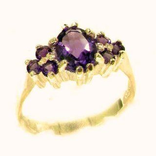 Ladies Contemporary Solid 14K Yellow Gold Natural Amethyst Ring   Finger Sizes 5 to 12 Available   Perfect Gift for Birthday, Christmas, Valentines Day, Mothers Day, Mom, Mother, Grandmother, Daughter, Graduation, Bridesmaid. Jewelry