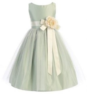 Sweet Kids Girls Vintage Satin and Tulle Flower Girl Easter Sunday Dress Clothing
