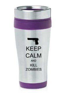 Purple 16oz Insulated Stainless Steel Travel Mug Z351 Keep Calm and Kill Zombies Gun Kitchen & Dining