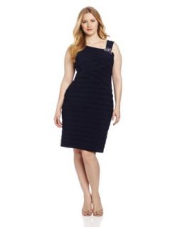 Jessica Howard Women's Plus Size Beaded Asymetrical Tuck Plus Dress, Navy, 18W Clothing
