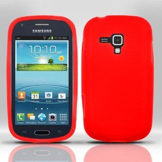 LF Red Silicon Skin Gel Case Cover, Lf Stylus Pen & Wiper Bundle For (AIO) Samsung Galaxy AMP i407 Cell Phones & Accessories