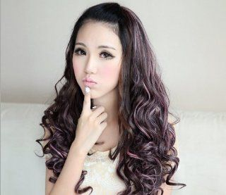 ZWZCYZ Long curly hair highlights fluffy half a head of a new Head hair wig high temperature wire materials Human wigs(Dark brown to pick pink)  Hair Replacement Wigs  Beauty