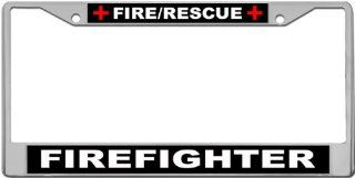 Fire/Rescue   Firefighter Custom License Plate METAL Frame from Redeye Laserworks Automotive