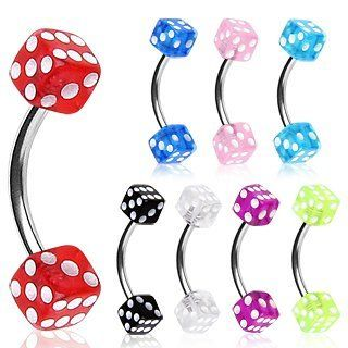 "316L Surgical Steel Curved Barbell / Eyebrow Ring with Purple UV Coated Acrylic Dice Balls   16g (1.2mm), 3/8"" (10mm) Length, 4x4mm Dice Size   Sold as a Pair Jewelry"