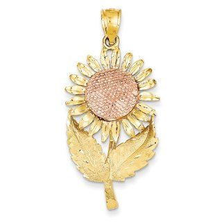 14k White and yellow gold Two tone Sunflower Pendant Vishal Jewelry Jewelry