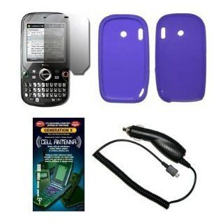 Solid Purple Silicone Gel Skin Cover Case + Screen Protector + Rapid Car Charger + Generation X Antenna Booster for Palm Treo Pro 850 Cell Phones & Accessories