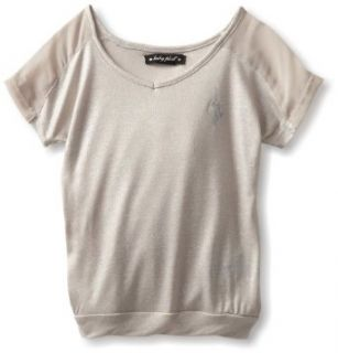 Baby Phat   Kids Girls 2 6X Shimmer Banded Bottom Tee, Silver, 4T Clothing