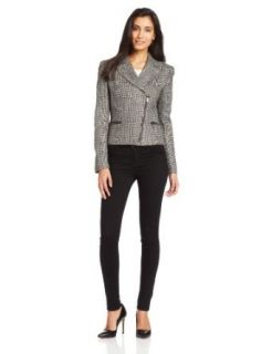 Anne Klein Women's Asymmetrical Tweed Zip Front Suit Jacket, Brownstone Multi, 0 Clothing