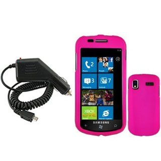Samsung Focus i917 Combo Rubber Hot Pink Protective Case Faceplate Cover + Rapid Car Charger for Samsung Focus i917 Cell Phones & Accessories