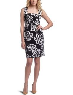 Jessica Howard Women's Cotton Sateen Sheath Dress,Black/White,6 Clothing