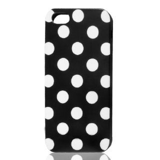 White Polka Dot Black Plastic TPU Phone Case Cover for Apple iPhone 5 5G Cell Phones & Accessories