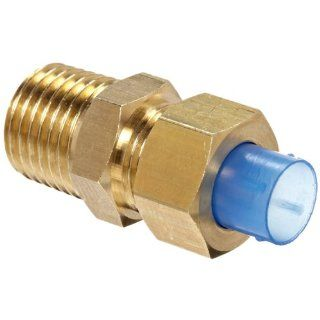 "SMC KF Brass Insert Tube Fitting, Connector, 10mm Tube OD x 7.5mm Tube ID x 1/4"" BSPT Male Push To Connect Tube Fittings"