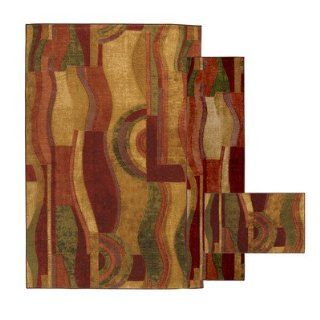 Townhouse Rugs HFPIC 438 ASSTD Pablo Wave Area Rugs, Red   Area Rugs