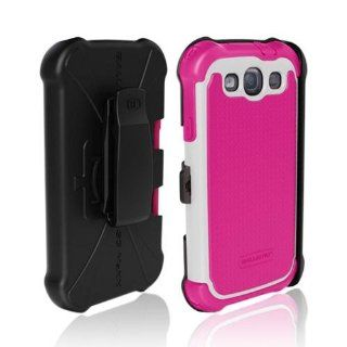 OEM Ballistic Samsung Galaxy S3 SG MAXX Hybrid Case W/ Holster & Lcd Screen Protector Cover Kit Film Guard   Pink/ White Cell Phones & Accessories