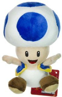 "Nintendo Super Mario Bros. Wii Plush Toy   6"" Blue Toad Toys & Games"